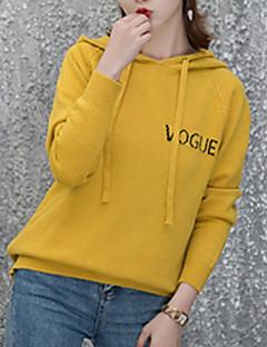 baratos Suéteres de Mulher-Mulheres Manga Longa Pulôver - Letra / Com Capuz