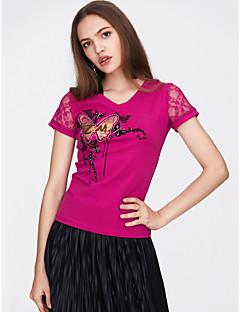 billige T-shirt-V-hals Tynd Dame - Blomstret Bomuld, Blonder / Trykt mønster Basale T-shirt / Sommer