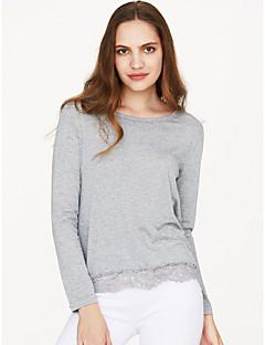 billige Bestselgere på salg-Bomull Løstsittende Bluse Dame - Lapper, Blonde / Høst