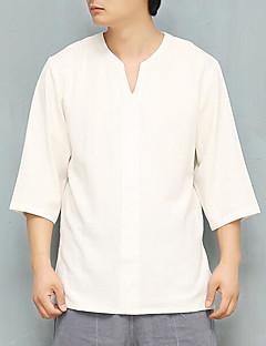 رخيصةأون قمصان رجالي-رجالي كتان قميص لون سادة
