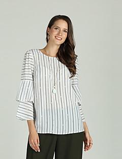 Χαμηλού Κόστους Γυναικείες Μπλούζες-Γυναικεία Μπλούζα Ενεργό / Βασικό Ριγέ / Φλοράλ Με Βολάν