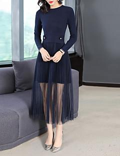 Χαμηλού Κόστους Γυναικεία Φορέματα-Γυναικεία Βασικό Πλεκτά Φόρεμα - Συνδυασμός Χρωμάτων, Δίχτυ Μακρύ