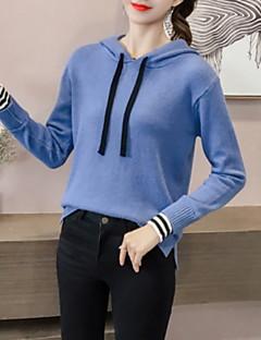 baratos Suéteres de Mulher-Mulheres Diário Sólido Manga Longa Padrão Pulôver, Com Capuz Verde / Branco / Bege Tamanho Único