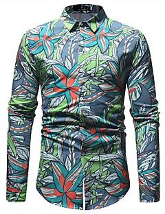 billige Herremote og klær-Skjorte Herre - Blomstret / Geometrisk, Trykt mønster Vintage / Grunnleggende