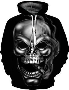 cheap Graphic Sweatshirts-Men's Plus Size Punk & Gothic / Exaggerated Long Sleeve Hoodie - 3D Print Round Neck Black XL / Fall