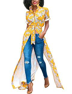 billige Minikjoler-Dame Boheme Skjorte Kjole - Blomstret, Delt / Trykt mønster Maxi / Mini Tropisk blad