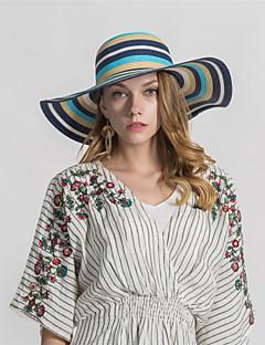 billige Trendy hatter-Dame Grunnleggende Stråhatt Trykt mønster