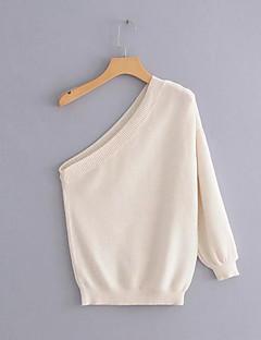 tanie Swetry damskie-Damskie Bawełna Bez ramiączek Pulower Jendolity kolor Długi rękaw