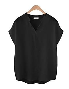 billige Skjorte-Kvindertrøje - solid farvet rund hals