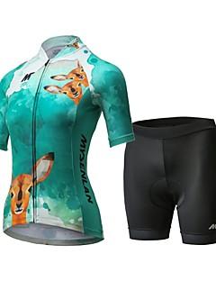 billige Sykkelklær-Mysenlan Dame Kortermet Sykkeljersey med shorts - Grønn Sykkel Klessett, 3D Pute, Fort Tørring, Pustende Polyester, Spandex Rådyr
