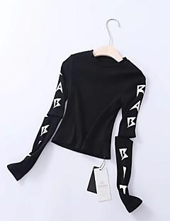 baratos Moletons com Capuz e Sem Capuz Femininos-camisola de manga comprida feminina slim - carta em volta do pescoço