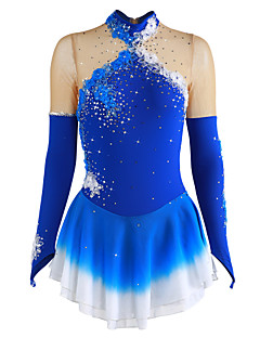 cheap Ice Skating-Figure Skating Dress Women's / Girls' Ice Skating Dress Blue Flower Halo Dyeing Spandex Competition Skating Wear Breathable, Handmade Floral / Fashion Long Sleeve Ice Skating / Figure Skating
