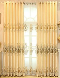 billige Gardiner-gardiner gardiner Soverom Blomstret / Geometrisk Polyester Broderi