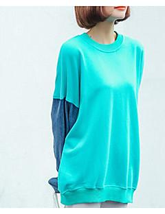 baratos Moletons com Capuz e Sem Capuz Femininos-camisola de algodão manga comprida feminina - polka dot em volta do pescoço