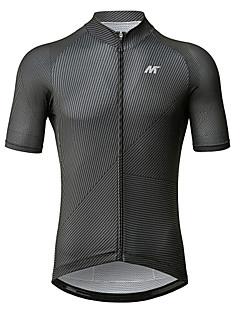 billige Sykkelklær-Mysenlan Herre Kortermet Sykkeljersey - Mørkegrå Sykkel Jersey Polyester / YKK-glidelås