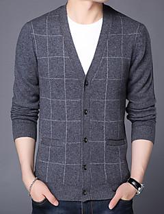 tanie Męskie swetry i swetry rozpinane-Męskie Wełna W serek Rozpinany Pled Długi rękaw
