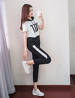 Women s Tracksuit - White, Black Sports Color Block High Rise Hoodie   Pants    Trousers Yoga, Fitness, Gym Short Sleeve Activewear Breathable, ... 1ed4206bd1a