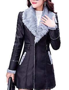 Χαμηλού Κόστους Women's Leather & Faux Leather Jackets-Γυναικεία Παλτό Στρατιωτικό - Contemporary