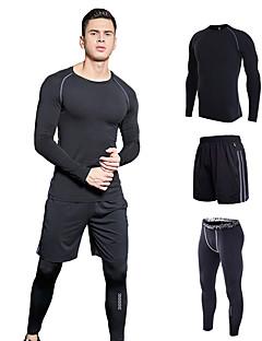 billige Løbetøj-Herre Rund hals Elastisk talje 3stk T-shirt og shorts til løb og jogging / T-shirt og bukser til løb og jogging - Rød, Grøn, Grå Sport Helfarve Sweatshirt / Træningsdragt Yoga, Fitness, Træningscenter