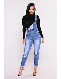 abordables Pantalons-Femme Jeans Pantalon Couleur Pleine Bleu & blanc