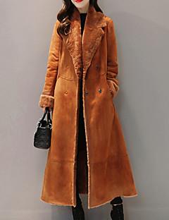 Χαμηλού Κόστους Μακρύ παλτό-Γυναικεία Καθημερινά Μάξι Παλτό, Μονόχρωμο Κολάρο Ρολό Μισό μανίκι Πολυεστέρας Καφέ L / XL / XXL