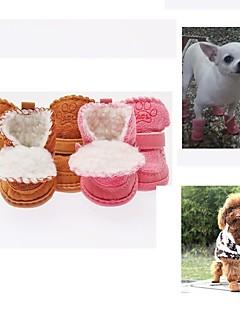 billiga Hundkläder-Hund Skor och stövlar Stängd tå Enfärgad / Tecknat Kaffe / Rosa För husdjur