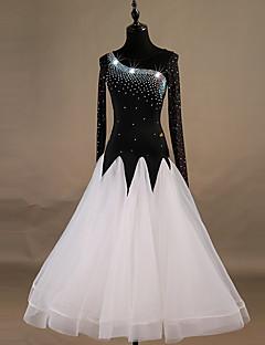 tanie Stroje balowe-Taniec balowy Sukienki Damskie Szkolenie Nylon / Organza / Tiul Kryształy / kryształy górskie Długi rękaw Wysoki Sukienka