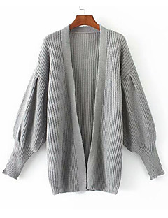 baratos Suéteres de Mulher-Mulheres Para Noite Manga Longa Delgado Carregam - Sólido / Decote V