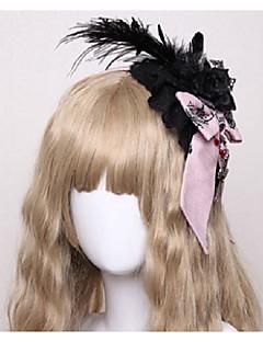 billiga Lolitaaccessoarer-Lolita Accessoarer Huvudbonad Punkmode Gotiskt Vampyr Dam Röd / Rosa / Bläck blå Rosett Fjädrar Huvudbonad Cotton Kostymer