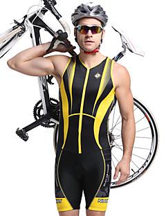 billige Sykkelklær-Nuckily Herre Kortermet Triathlondrakt - Gul Geometrisk Sykkel Anatomisk design, Ultraviolet Motstandsdyktig, Pustende Polyester, Spandex Stribe / Elastisk / SBS glidelås