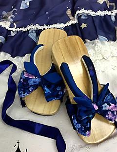 billiga Lolitamode-Klassisk Vintage Platt klack Tryck Rosett 5 cm CM Bläck blå / Blå / Rosa Till Annat material Bomullstyg Halloweenkostymer