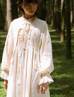 billiga Lolitaklänningar-Klassisk / Traditionell Lolita Klassisk Vintage Dam Klänningar Cosplay Beige Juliet Långärmad Midi Halloweenkostymer