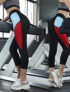 Χαμηλού Κόστους Άσκηση, γυμναστική και γιόγκα-Γυναικεία Patchwork Παντελόνι για γιόγκα - Μαύρο, Κόκκινο, Μαύρο / Κόκκινο Αθλητισμός Συνδυασμός Χρωμάτων 3/4 Capri Παντελόνια Τρέξιμο, Fitness, Προπόνηση Ρούχα Γυμναστικής / Υψηλή Ελαστικότητα