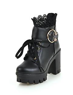 Χαμηλού Κόστους -Γυναικεία Fashion Boots PU Χειμώνας Μπότες Κοντόχοντρο Τακούνι Στρογγυλή Μύτη Μποτίνια Λευκό / Μαύρο / Πάρτι & Βραδινή Έξοδος
