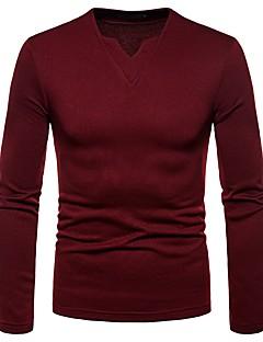 billige Herrers Mode Beklædning-V-hals Herre - Ensfarvet Basale T-shirt / Langærmet