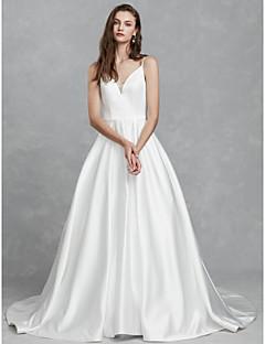 billiga Brudklänningar-Prinsessa V-hals Kapellsläp Satäng Bröllopsklänningar tillverkade med av LAN TING BRIDE®