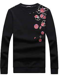 tanie Miesten hupparit ja collegepuserot-Sportowa bluza męska z długimi rękawami i bawełną - kolor bloku / kwiatowy okrągły dekolt