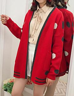 baratos Suéteres de Mulher-Mulheres Diário Moda de Rua Poá Manga Longa Padrão Carregam, Decote U Preto / Vermelho / Camel Tamanho Único