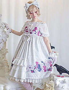 billiga Lolitamode-Söt Lolita Casual Lolita Klänning Blom Band Elegant Dam Klänningar Cosplay Vit / Blå Klocka 3/4-dels ärm Midi Kostymer