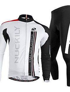 Nuckily Men s Long Sleeve Cycling Jersey with Tights - White Bike Clothing  Suit Windproof Breathable Quick Dry Ultraviolet Resistant Reflective Strips  ... 7822e529e