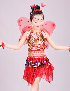 tanie Dziecięca odzież do tańca-Taniec brzucha Stroje Dla dziewczynek Spektakl Spandeks Bandażowe / Warstwowane / Dżety Bez rękawów Dropped Spódnice / Top