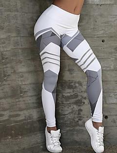 billige Løbetøj-Dame Patchwork Yoga bukser - Grå, Blå, Rosa Sport Geometri Tights / Leggins Løb, Fitness, Træningscenter Sportstøj Hurtig Tørre, Butt Lift, Power flex Høj Elasticitet Tynde