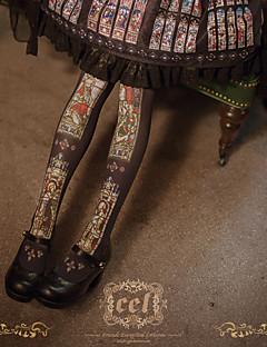 billiga Lolitaaccessoarer-Strumpor / Strumpbyxor Vintage Dam Svart Vintage Strumpor Bomull / Polyester Kostymer