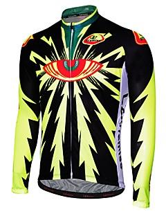 billige Sykkelklær-Malciklo Herre Langermet Sykkeljersey - Svart / Svart / Gul Tegneserie Sykkel Jersey, Fort Tørring, Anatomisk design, Pustende Tegneserie / Italia Importert blekk