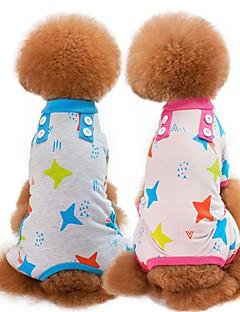 billiga Hundkläder-Hund / Katt Pyjamas Hundkläder Tecknat / Stjärnor Grön / Blå / Rosa Cotton Kostym För husdjur Unisex Söt Stil / Ledigt / vardag