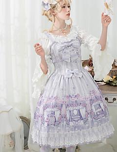 billiga Lolitaklänningar-Söt Lolita Vintage Elegant Chiffong Spets Dam Klänningar Cosplay Purpur / Rosa Ärmlös Ärmlös Midi Kostymer