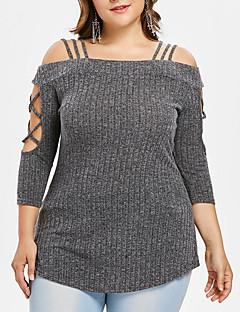 baratos Suéteres de Mulher-pulôver feminino - sólido colorido fora do ombro