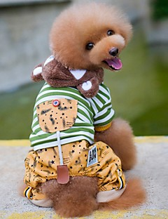 billiga Hundkläder-Hund / Katt Kappor Hundkläder Randig Grå / Grön Cotton Kostym För husdjur Unisex Ledigt / vardag / Uppvärmning