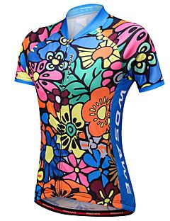 billige Sykkelklær-WOSAWE Dame Kortermet Sykkeljersey - Blå Reaktivt Trykk Blomster / botanikk Sykkel Jersey, Refleksbånd Netting 100% Polyester