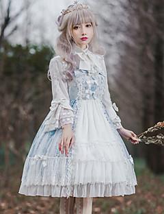 billiga Lolitamode-Söt Lolita Klassisk / Traditionell Lolita Klassisk Vintage Ruffle Dress Dam Klänningar Cosplay Brun / Grön / Blå Klocka Långärmad Midi Halloweenkostymer